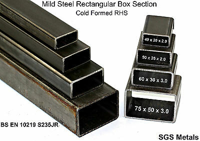 Mild Steel Rectangular Box Section 40 50 60 75 & 100mm Bandsaw Cut -  • 22£
