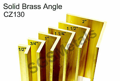 Solid Brass ANGLE L Section- CZ130 Extruded Bandsaw Cut - 6 Sizes & 7 Lengths • 9.88£