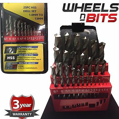 25pc Hss Drill Bit Set In Metal Storage Box - Precision Ground - Sizes 1 - 13mm • 14.99£
