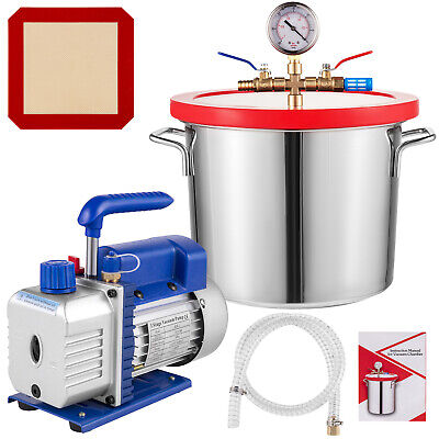 2 Gallon(9L) Vacuum Chamber Kit With 3CFM Refrigerant Vacuum Pump Local  Deep • 89£