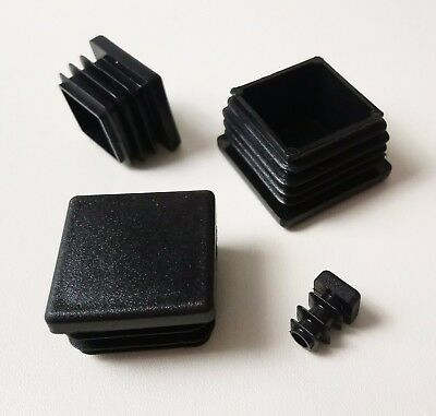 Square Plastic End Caps Blanking Plugs Box Section /Tube Inserts / Black • 22.09£