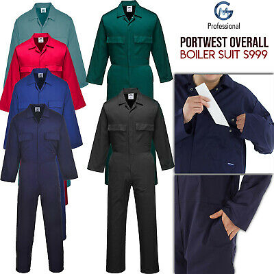 Portwest Mechanic Builder Boiler Suit Coverall Overall Euro Work Polycotton S999 • 19.34£