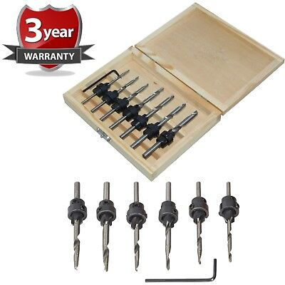 New 7pc Tapered Drill Bits Countersink Set Adjustable Stop Collars Hex Key Pilot • 7.49£