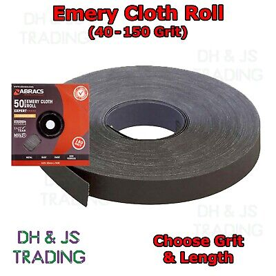 Emery Cloth Roll Fine Medium Coarse 40 60 80 120 150 Grit - Aluminium Oxide • 19.95£
