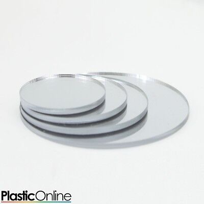 Silver Mirror Laser Cut Plastic Circles 3mm 5mm Thick Acrylic Discs • 30.39£