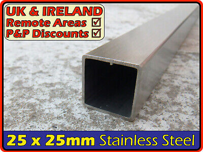 Stainless Steel Square Tube ║25 X 25 Mm║ Box Section Iron,profile,tubing,pipe • 22.95£