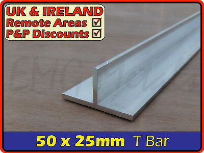 Aluminium Tee Bar ║ Aprx 50mm X 25mm ║ T Profile,section,alloy,trim,joint,edging • 11.95£