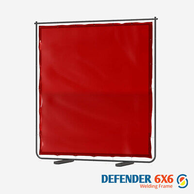 Defender 6x6 Welding Curtain & Frame In Red 6FTw X 6FTh  • 89.94£