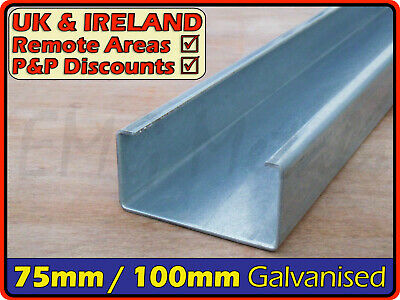 Galvanised Steel Lipped Channel║75mm100mm⫽3x2 4x2║C U Section, Cable Tray • 28.95£