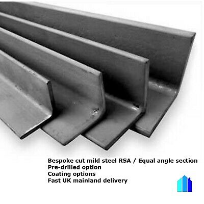 Mild Steel Angle Iron Section Bespoke Cut Sizes Lengths Pre Drilled Available • 9.95£