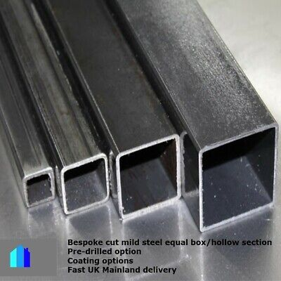 Mild Steel Hollow Box Section Bespoke Cut Lengths Posts Pre Drilled Available • 18.23£