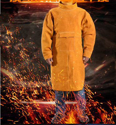 Durable Leather Cowhide Welding/BBQ Apron Extra Protection With Long Sleeves New • 34.99£