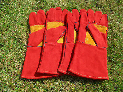 2 Pairs Of Leather Premium Red Welder's Gauntlets With Reinforced Palm And Thumb • 14.50£