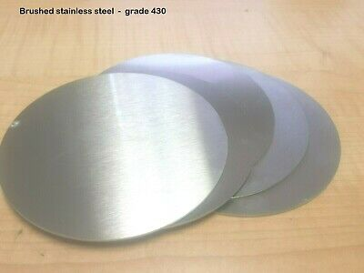 BRUSHED STAINLESS STEEL DISCS  -  0.9mm & 1.5mm Thick  -  Many Diameters • 3.30£