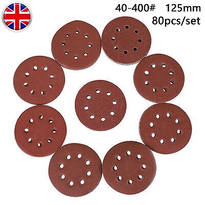 125mm Wet And Dry Sanding Discs 5'' Sandpaper 8 Hole Film Pads 40 -400# GRIT • 8.70£