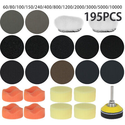 195X 2'' Wet Dry Sanding Discs Pads + M6 Drill Adapter For Grinder Rotary Tools • 13.39£