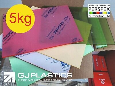 COLOURED Acrylic Offcuts, 5kg, Perspex, Craft, Model Making, Masking Both Sides. • 29.99£