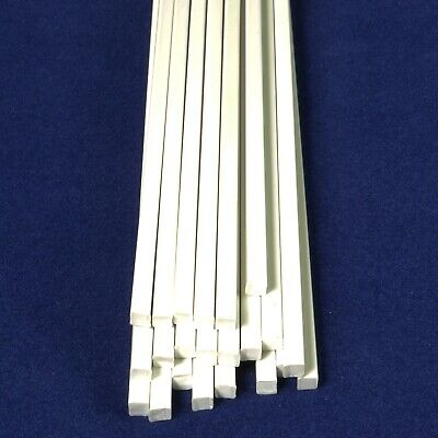 23x Solid White 4mm X 4mm Square 250mm Long ABS Model Engineering Plastic Rod • 2.99£