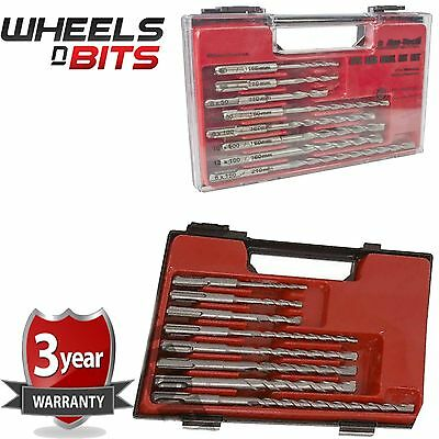 8 Pc Sds Masonry Drill Bit Set Storage Case Professional Fits Sds Plus • 8.95£