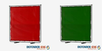 Defender 6x6 Welding Curtain & Frame Available In Red Or Green 6' W X 6' H • 86.94£