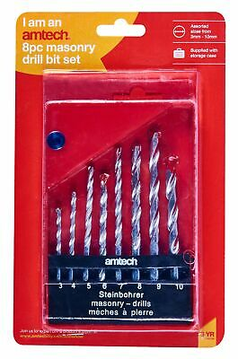 New 8Pc Masonry Drill Set 3 4 5 6 7 8 9 10Mm Storage Case Straight Shank Amtech • 6.40£