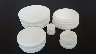 Round Plastic White Blanking End Cap Caps Tube Pipe Inserts Plug Bung • 1.82£