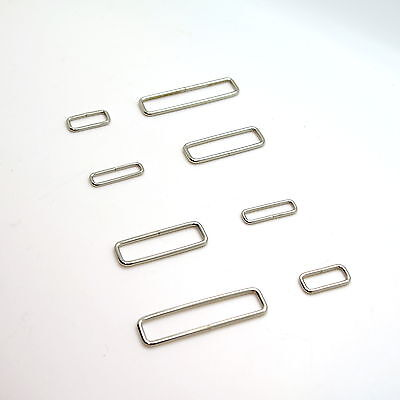 Metal Rectangle Loop Rings Wire Formed Buckles For Webbing Strap Tape All Size • 13.31£