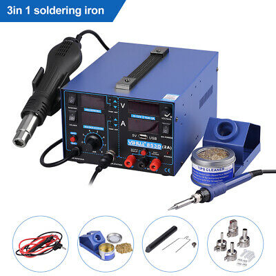 YIHUA 4 In1 853D Soldering Iron Station SMD Rework USB 2A Hot Air Gun Welder DC • 90.99£
