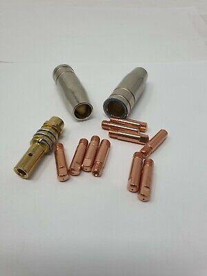 10 X 0.8mm Contact Tips & 2 Shroud Nozzle & Holder MB15 MIG Welding Consumables • 6.95£