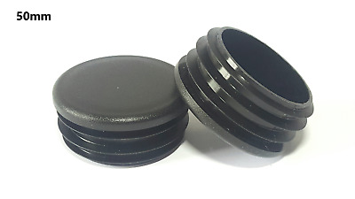 50mm-10pcs Round Plastic Black Blanking End Cap Caps Tube Pipe Inserts Plug • 4.79£