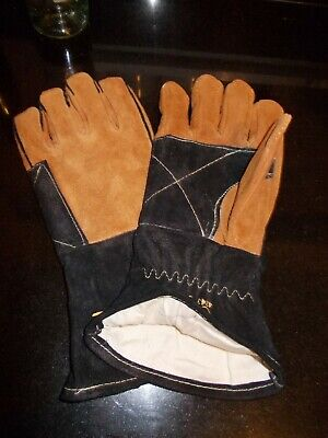 BNIP Unique Curved Leather WOODBURNING STOVE/LOG FIRE GAUNTLETS Size Large • 8.95£