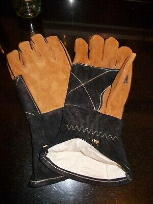 BNIP Unique Curved Leather Pk 6 WOODBURNING STOVE/LOG FIRE GAUNTLETS Size Large • 39.45£