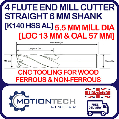 5.5 Mm Dia. End Mill HSS - Straight 6mm Shank 4 Flute LOC 13mm & OAL 57mm CNC • 3.95£