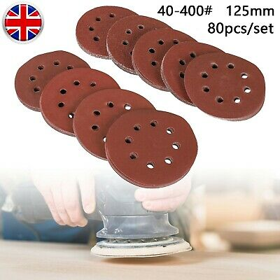 80Pcs 125mm 5 Sanding Discs 40-400 Mixed Grit Orbital Sander Pads Assortment • 9.19£