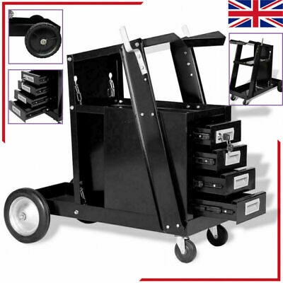Welding Cart Black Trolley With 3 Shelves/Drawers Workshop Organiser Cutter Tank • 112.10£