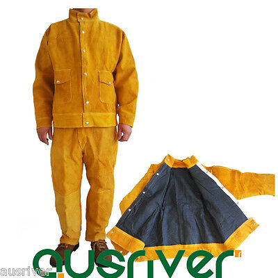 Leather Welding Jacket Coat+Trousers With Liner Protective Apparel Suit Welder • 93.02£
