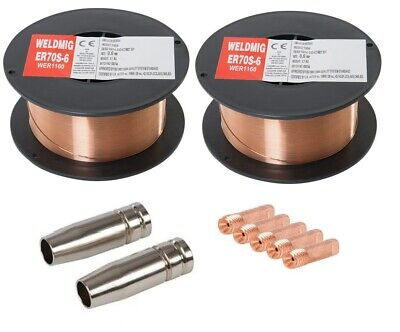 2 X Mild Steel MIG Welding Wire - 0.8mm 0.7kg Reel - (inc. M6 Tips And Shrouds) • 13.95£