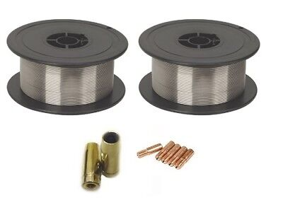 2 X Gasless (Flux Cored) MIG Welding Wire - 0.8mm 0.45Kg (MB14 Tips And Shrouds) • 7.95£