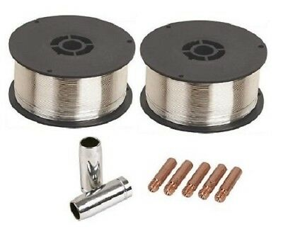 2 X 0.9Kg 0.8mm Gasless (Flux Cored) Mig Welding Wire (MB15/M6 Tips And Shrouds) • 24.95£