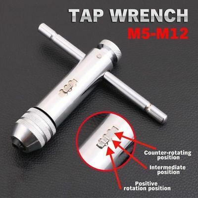 Tap And Die Reversible T Bar Handle Ratchet Wrench M5-M12 Holder Set Kit • 7.05£