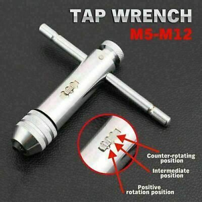 M5-m12 Reversible T Bar Handle Ratchet Tap Wrench Holder For Tap And Die Set • 7.05£