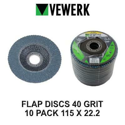 VEWERK Flap Discs 40 Grit Zirconium 115 X 22.2 Pack Of 10 8227 • 11.90£