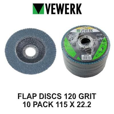 VEWERK Flap Discs 120 Grit Zirconium 115 X 22.2 Pack Of 10 8229 • 11.90£