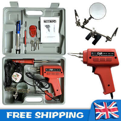 100W Electric Soldering Iron Gun Kit 3 Tips + Stand Magnifier +Solder Wire +Case • 17.24£