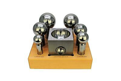 DAPPING SET - 6 MEDIUM PUNCHES AND 3  STEEL DAPPING BLOCK !! Free Sfippinng !! • 95.53£