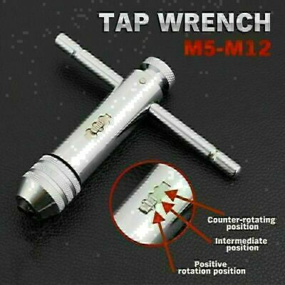 Adjustable 102mm T-Handle Ratchet Tap Wrench M5-M12 Metric Plug Tap Tool • 8.29£