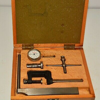 L S Starrett Dial Indicator Gauge & Accessories Good Fitted Wooden Box  1/1000  • 85£