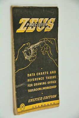 Zeus Data Charts Reference Tables Drawing Toolroom & Workshop Unified Edn 1959 • 10£