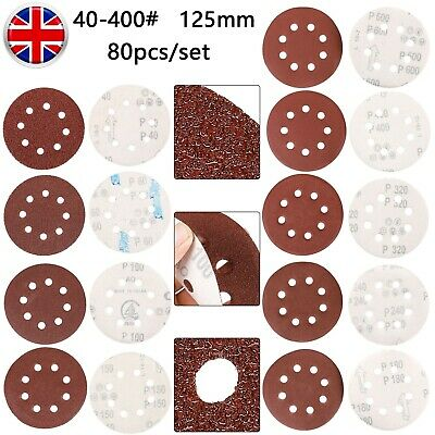 80Pcs 125mm 5 Sanding Discs 40-400 Mixed Grit Orbital Sander Pads Assortment • 9.99£