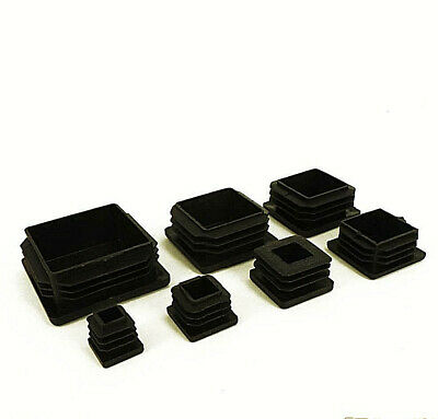 Square Plastic Black Blanking End Caps Tube Pipe Inserts Plug Bung Box Section • 15.90£